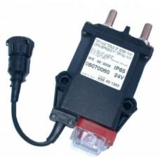 Teleruttore generale di corrente a ritenuta meccanica con stacco del positivo, connettore volante din e contatto ausiliario; azionamento a distanza e manuale-08070060