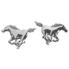 Emblema 3D cromato - 2 Horses 105x72-1015027...