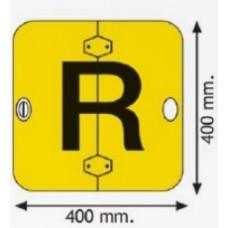 Lettera R su supporto alluminio pieghevole 400 x 400 mm.-107102/P/L...